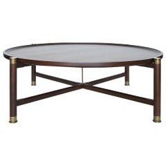 Otto Round Coffee Table in Medium Walnut with Antique Brass Fittings and Stem