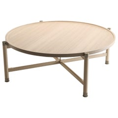 Otto Round Coffee Table in Bleached Oak with Antique Brass Fittings and Stem