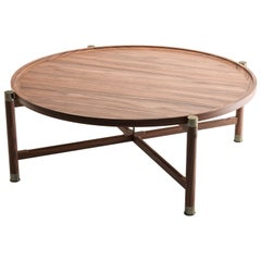 Otto Round Coffee Table in Light Walnut with Antique Brass Fittings and Stem