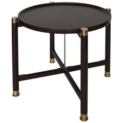 Otto Round Side Table in Ebonized Walnut with Antique Brass Fittings and Stem