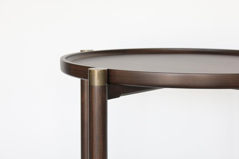 Modern Otto Round Side Table in Medium Walnut with Antique Brass Fittings and Stem For Sale