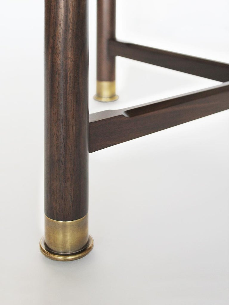 American Otto Round Side Table in Medium Walnut with Antique Brass Fittings and Stem For Sale