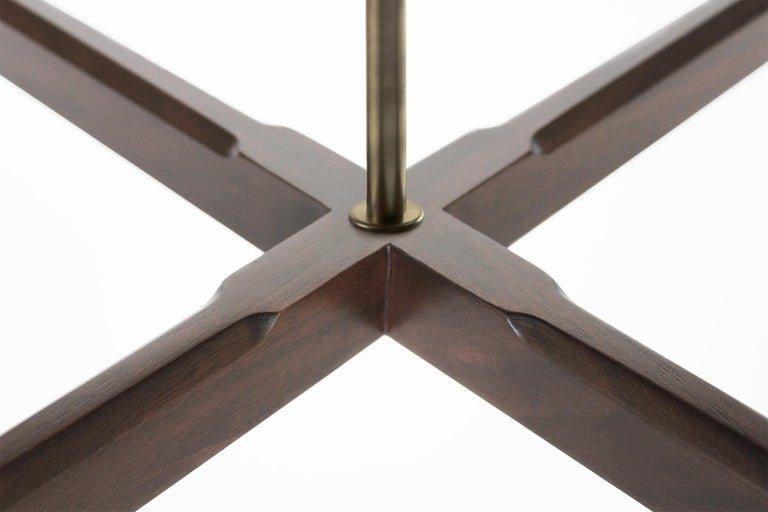 Otto Round Side Table in Medium Walnut with Antique Brass Fittings and Stem In New Condition For Sale In Los Angeles, CA