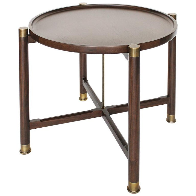 Otto Round Side Table in Medium Walnut with Antique Brass Fittings and Stem For Sale