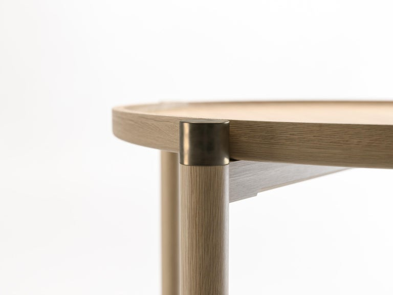 Modern Otto Round Side Table in Bleached Oak with Antique Brass Fittings For Sale