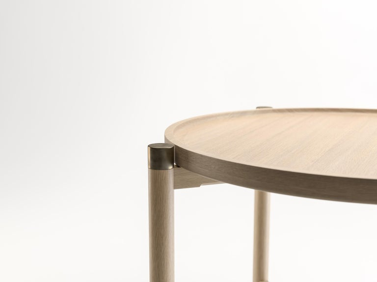Contemporary Otto Round Side Table in Bleached Oak with Antique Brass Fittings For Sale