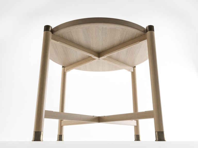 Otto Round Side Table in Bleached Oak with Antique Brass Fittings For Sale 1