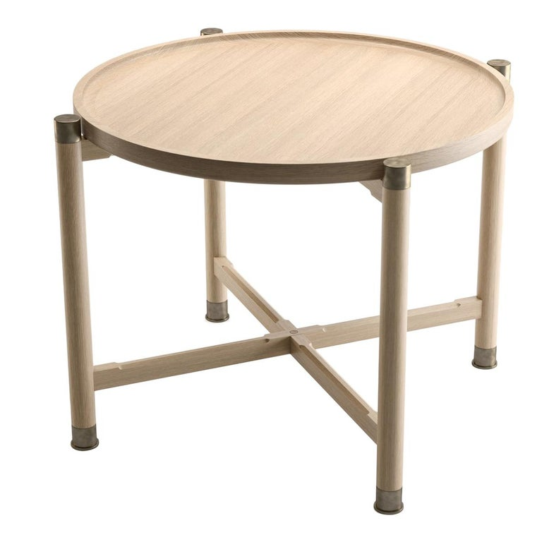Otto Round Side Table in Bleached Oak with Antique Brass Fittings For Sale