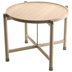 Otto Round Side Table in Bleached Oak with Antique Brass Fittings and Stem