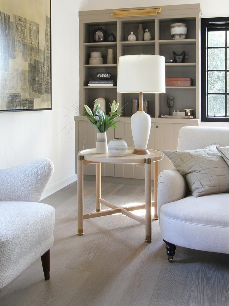 Otto Round Side Table in Bleached Oak with Antique Brass Fittings For Sale 2