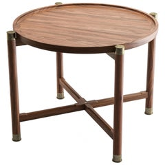 Otto Round Side Table in Light Walnut with Antique Brass Fittings