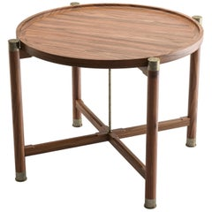 Otto Round Side Table in Light Walnut with Antique Brass Fittings and Stem