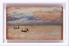 Petite 19th Century German seascape painting of boats on the Cornish coast