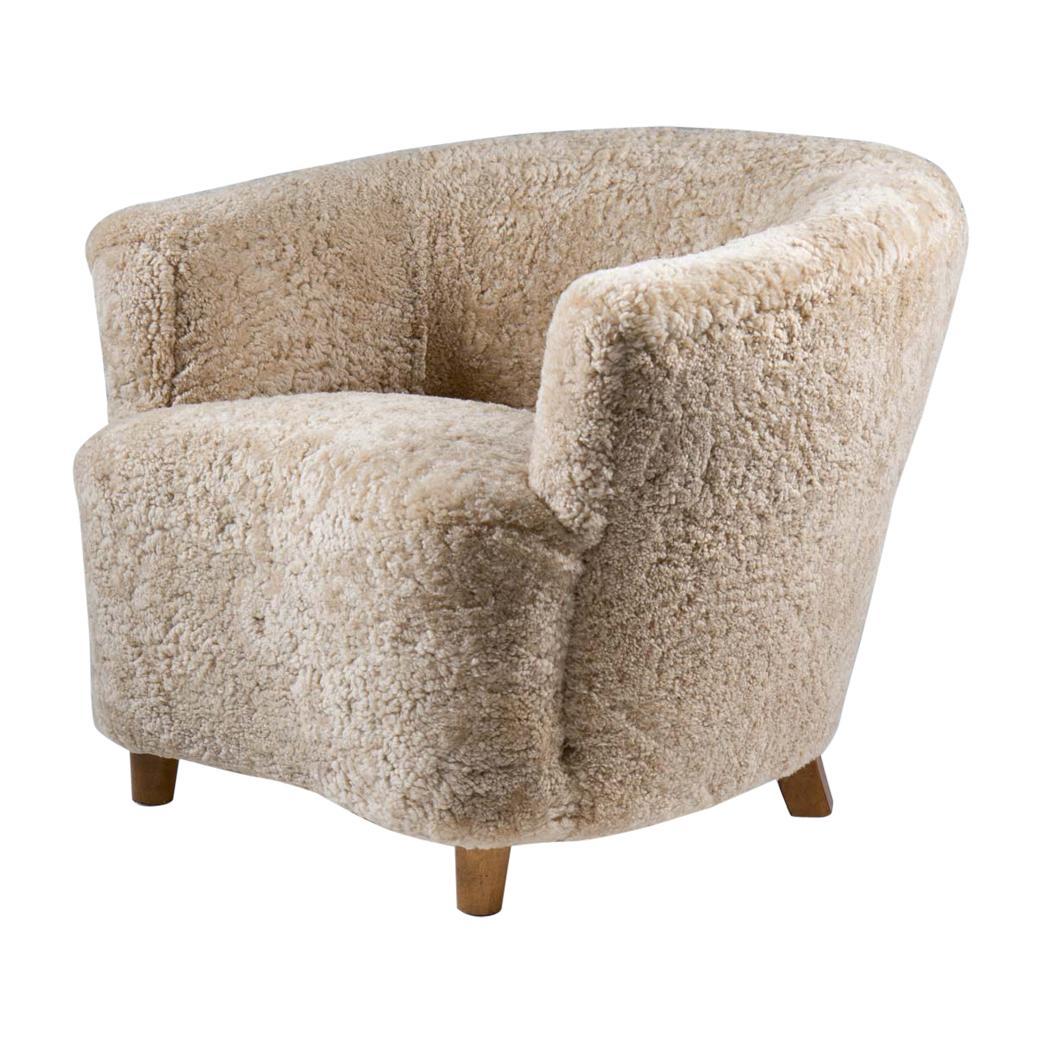 Otto Schulz Attributed Scandinavian Mid Century Lounge Chair in Sheepskin