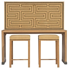 Otto Schulz Bar Cabinet with Matching Bar Stools
