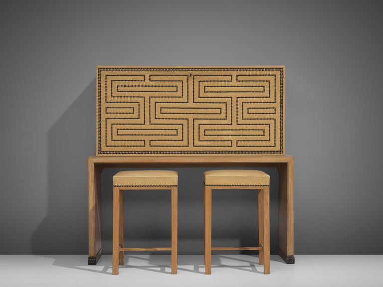 Otto Schulz bar cabinet with matching bar stools, Sweden, circa 1930s.  This beautifully decorated bar piece was designed by Otto Schulz. It shows well chosen proportions, with an open base and a well sized bar unit placed on top. The thin sides