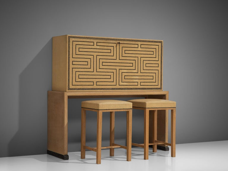 Mid-Century Modern Otto Schulz Bar Cabinet with Matching Bar Stools, Sweden, circa 1930s For Sale