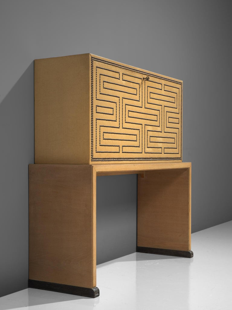 Mid-20th Century Otto Schulz Bar Cabinet with Matching Bar Stools, Sweden, circa 1930s For Sale