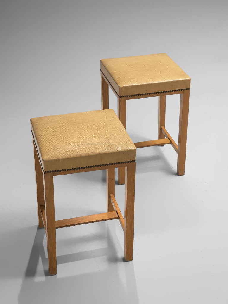 Faux Leather Otto Schulz Bar Cabinet with Matching Bar Stools, Sweden, circa 1930s For Sale