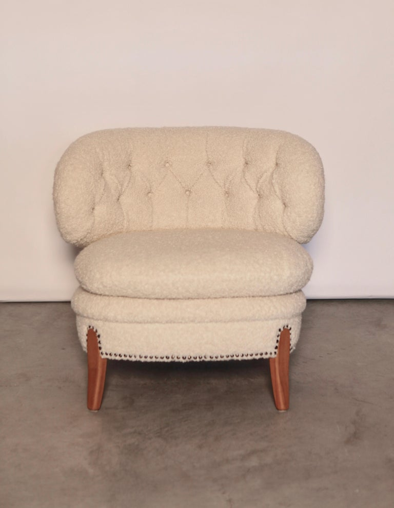 Otto Schulz, slipper chair, restored and new reupholstered in alpaca. Excellent condition.