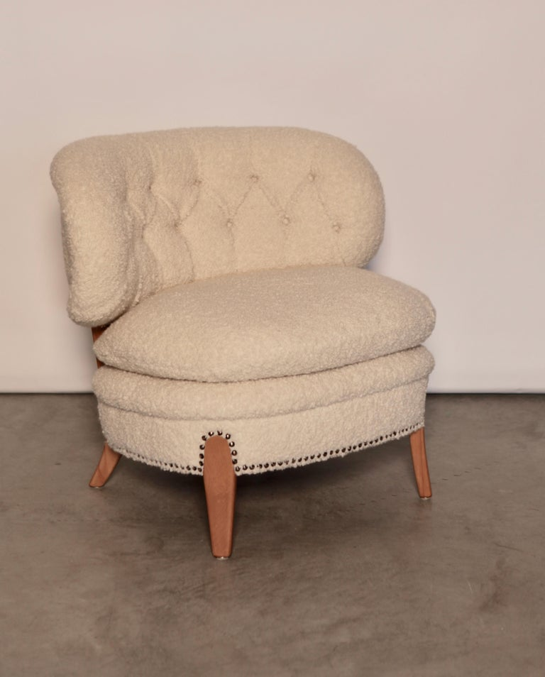 Alpaca Otto Schulz Easy Chair, Sweden, Produced by Boet, 1940s For Sale