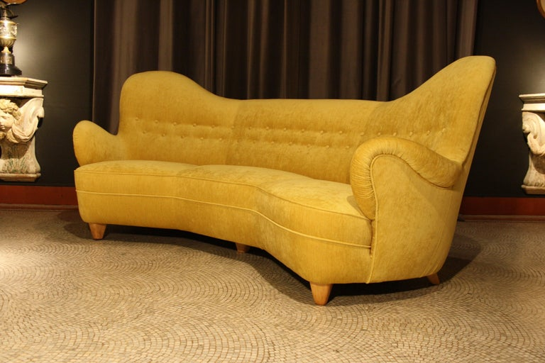 Otto Schulz High Back Banana Sofa for Boet, 1930s For Sale 5