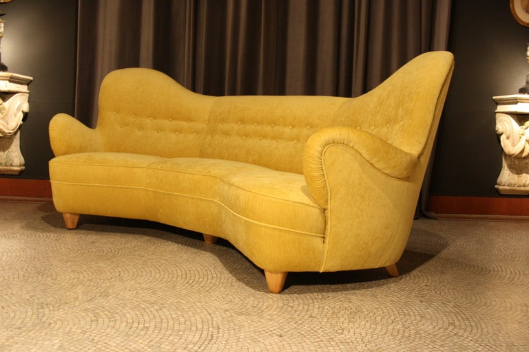 Otto Schulz High Back Banana Sofa for Boet, 1930s For Sale 6