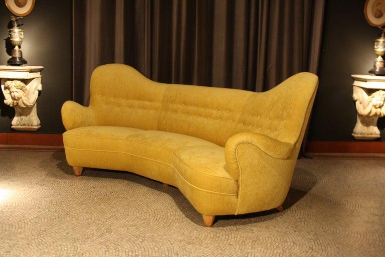 Scandinavian Modern Otto Schulz High Back Banana Sofa for Boet, 1930s For Sale