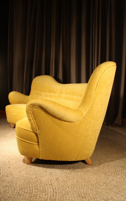 Swedish Otto Schulz High Back Banana Sofa for Boet, 1930s For Sale
