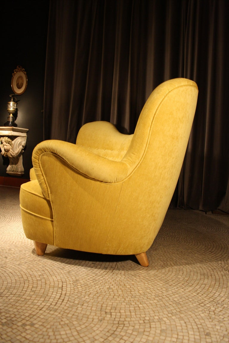 Otto Schulz High Back Banana Sofa for Boet, 1930s In Excellent Condition For Sale In Belgium, BE