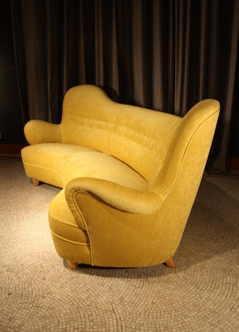 Velvet Otto Schulz High Back Banana Sofa for Boet, 1930s For Sale