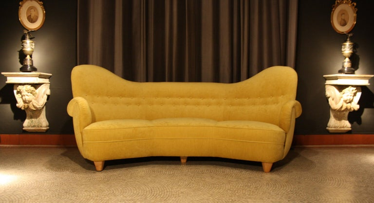 Otto Schulz High Back Banana Sofa for Boet, 1930s For Sale 2