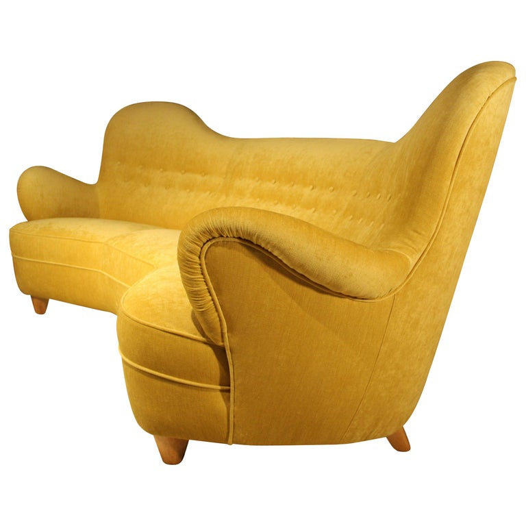 Otto Schulz High Back Banana Sofa for Boet, 1930s For Sale