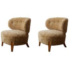 Otto Schulz, Pair of Modernist Slipper Chairs, Sheepskin, Beech, 1940s