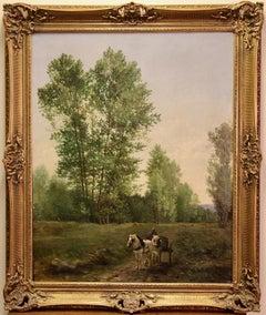 Otto Von Thoren, 19th Century, Antique Oil Painting, Horses with Farmer Coach