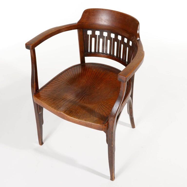 Austrian Otto Wagner Chair Armchair by J.&J. Kohn, Austria, Vienna Secession, circa 1900 For Sale