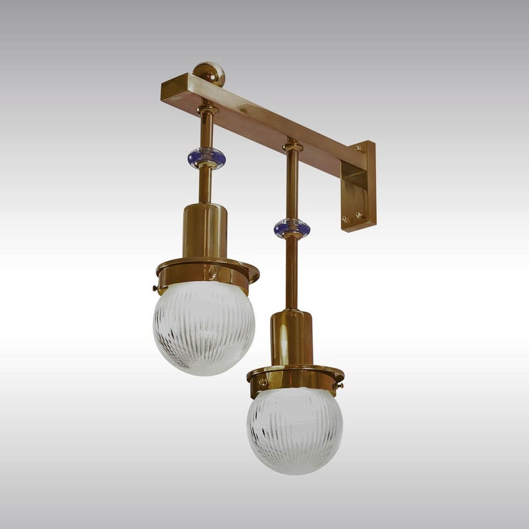 Wall-lamp for the famous Steinhof-Church in Vienna, built in 1904. Available in different finishes.  Originally manufactured at the Wiener Werkstaette Atelier, now custom-made production at the Woka Lamps Workshop in Vienna.  All components