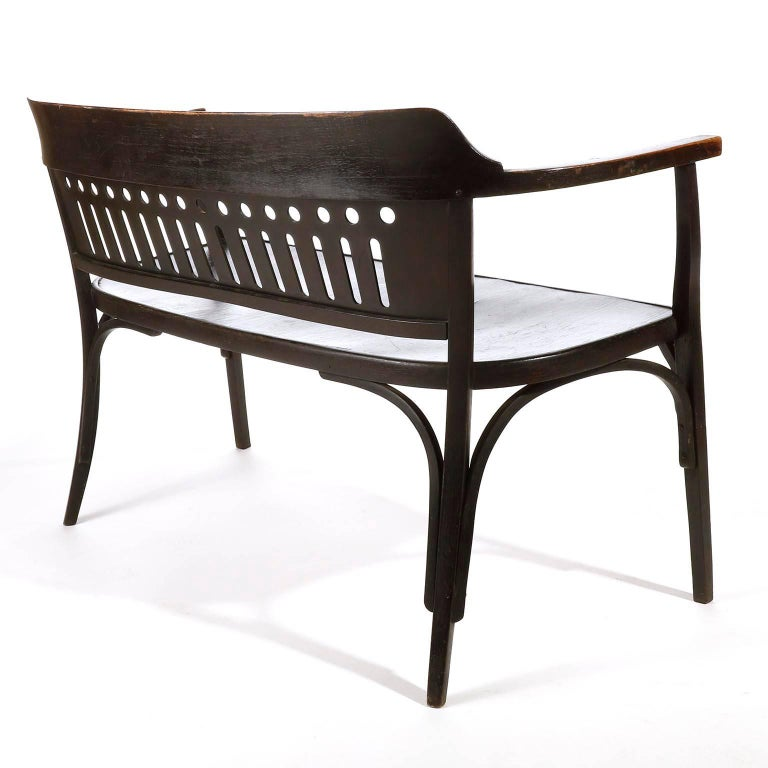 Otto Wagner Settee Bench Bentwood, Thonet, Austria, Vienna Secession, circa 1905 For Sale 7
