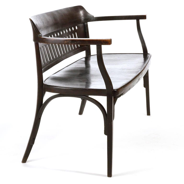 Otto Wagner Settee Bench Bentwood, Thonet, Austria, Vienna Secession, circa 1905 For Sale 5