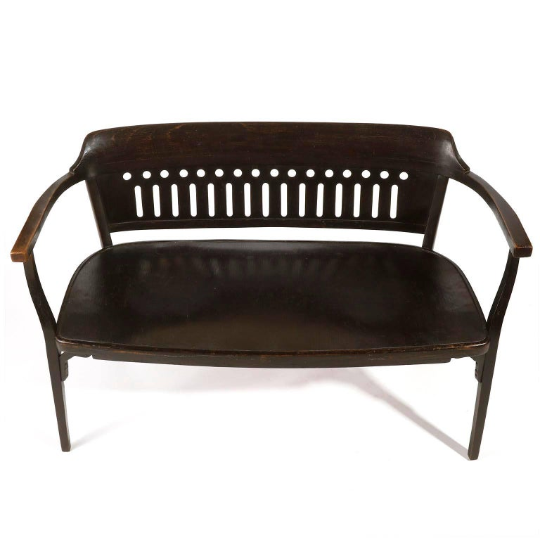 Polished Otto Wagner Settee Bench by Thonet, Austria, Vienna Secession, circa 1905 For Sale