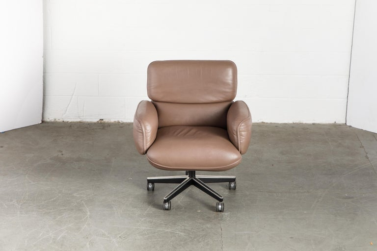Modern Otto Zapf for Knoll International Leather Desk Chair, c. 1985, Signed  For Sale