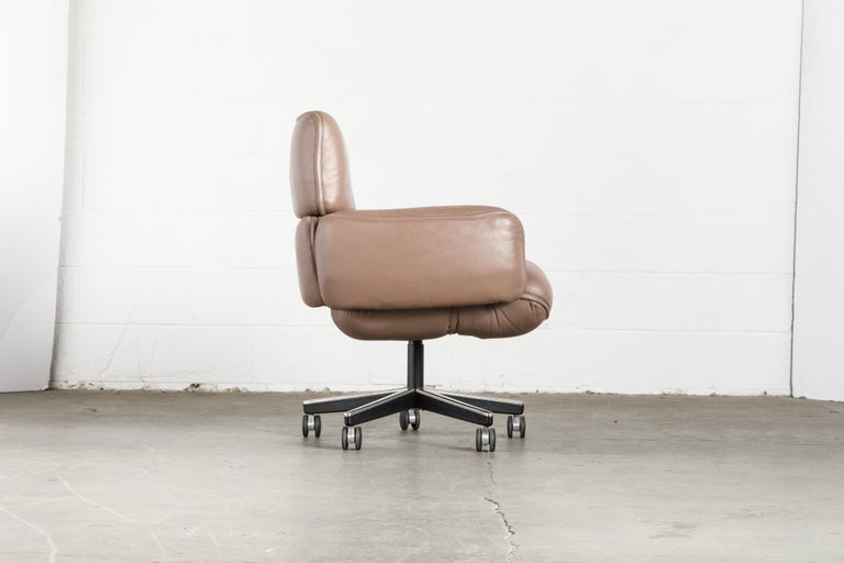 Late 20th Century Otto Zapf for Knoll International Leather Desk Chair, c. 1985, Signed  For Sale