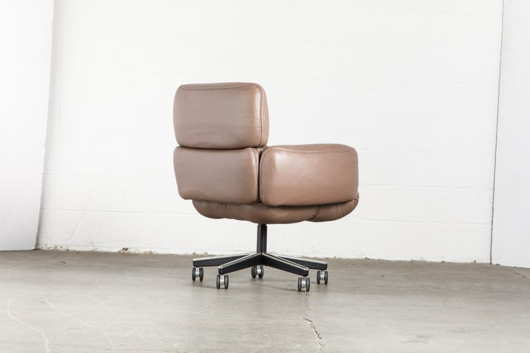 Otto Zapf for Knoll International Leather Desk Chair, c. 1985, Signed  For Sale 1