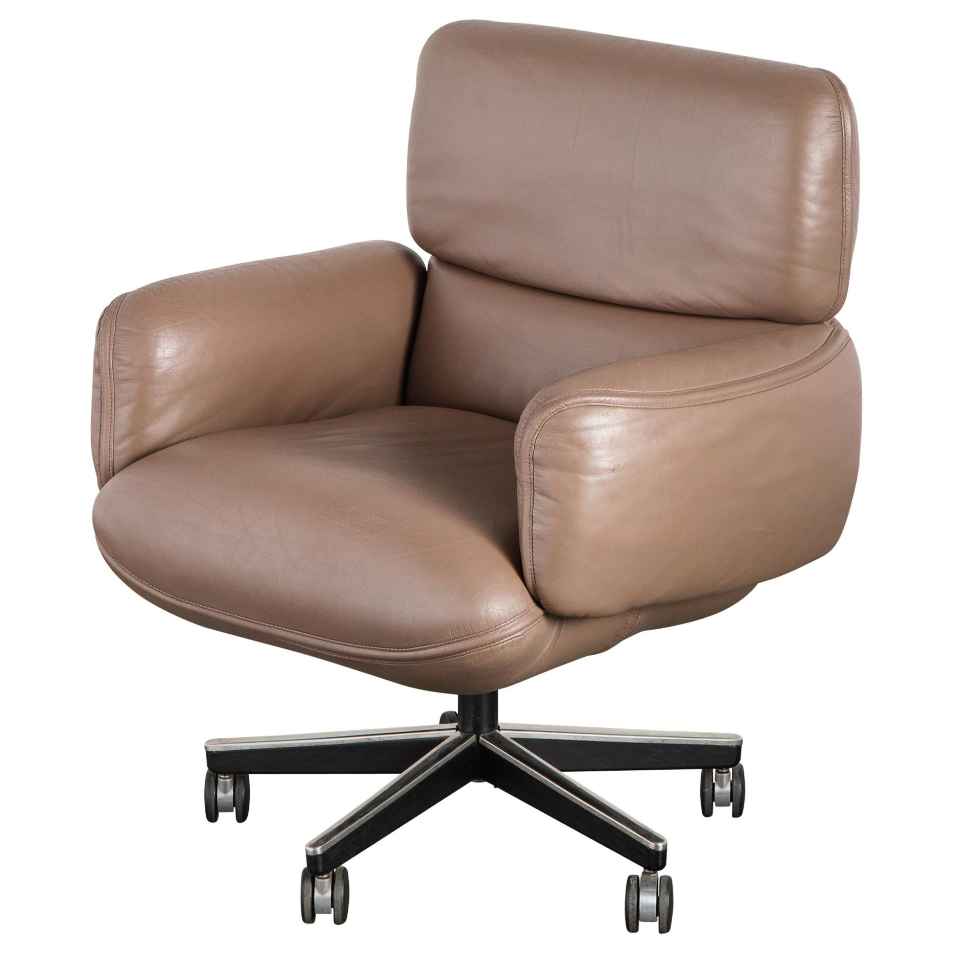 Otto Zapf for Knoll International Leather Desk Chair, c. 1985, Signed