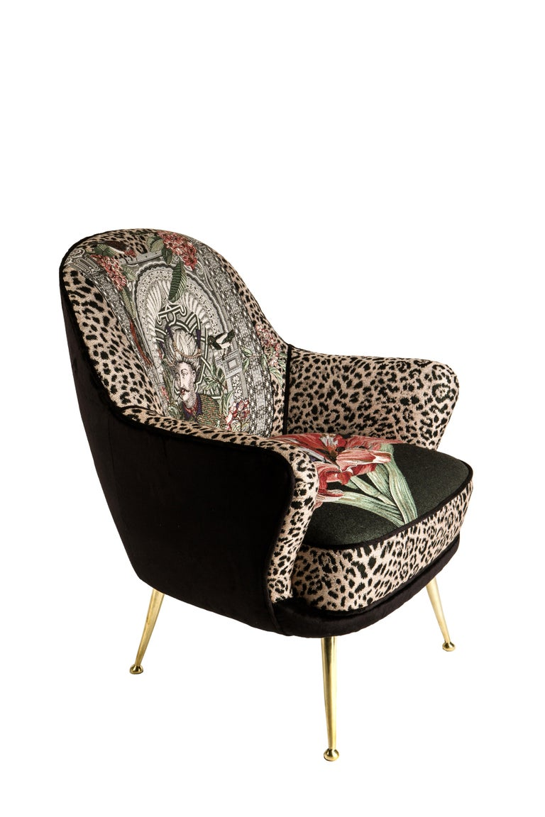 Modern Italian Mid Century Style Limited edition Armchair with brass legs For Sale