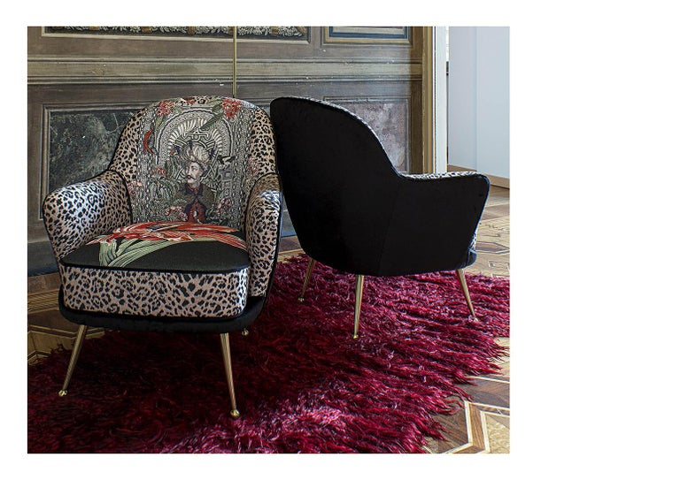Italian Mid Century Style Limited edition Armchair with brass legs In New Condition For Sale In Scandicci, Florence