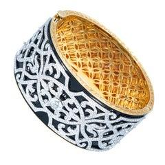 Ottoman Style Art Design, Diamond Round, Black Enameled, Yellow Gold Bracelet