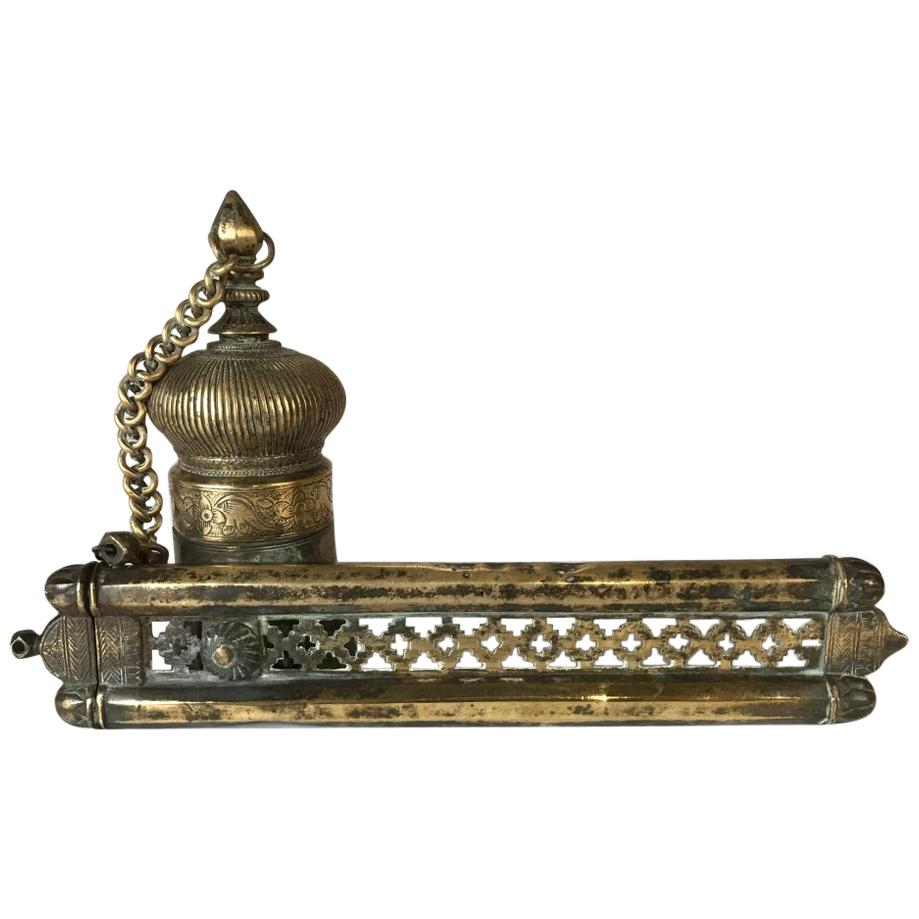 Ottoman Brass Inkwell and Pen Case Qalamdan