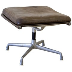 Ottoman by Herman Miller of Leather and Stainless Steel Base