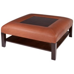 Ottoman /Cocktail Table in Leather and Walnut with Macassar Ebony Inset Tray